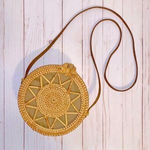 Handbags - Straw Circle Boho Shoulder/Crossbody Bag